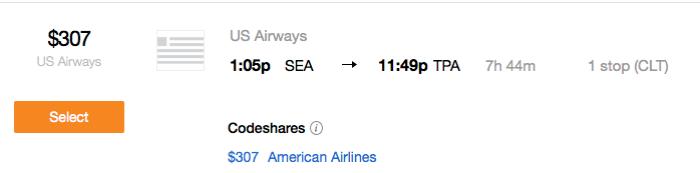 seattle flight on us air